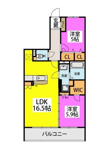 (仮称)プレア柳河内2丁目 / 203号室間取り