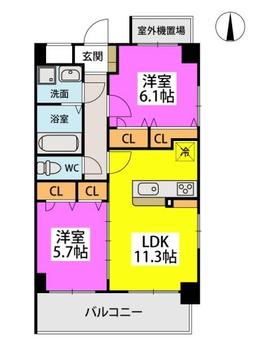 MCG BEFU / 502号室間取り