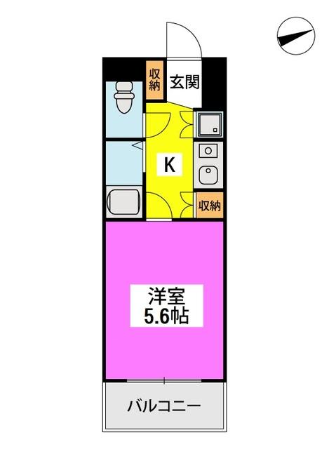 ※エクセル六本松 / 102号室間取り