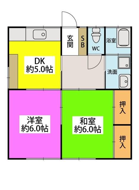 テラスハウス茶山 / 2号号室間取り