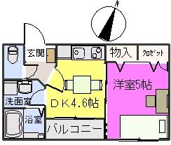 タウンコート住吉 / 102号室間取り