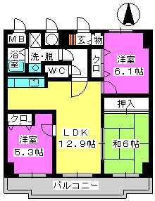 ガーデンコート大濠 / 302号室間取り