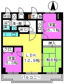 ガーデンコート大濠 / 505号室間取り