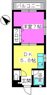シティハイツ高宮 / 203号室間取り