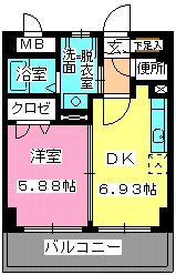 ローヤルマンション博多駅前 / 308号室間取り