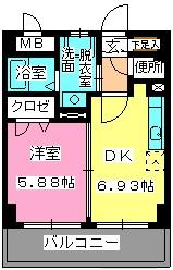ローヤルマンション博多駅前 / 608号室間取り