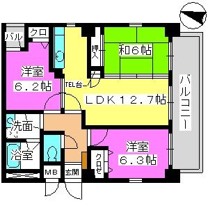 ボン大文字 / 402号室間取り