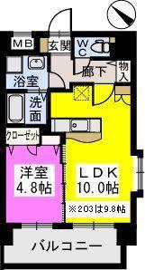 ピュア博多駅南弐番館 / 903号室間取り