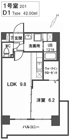 トラント・ドゥ博多 / 201号室間取り