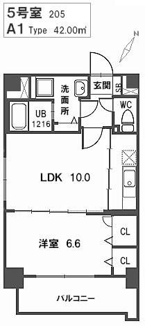 トラント・ドゥ博多 / 205号室間取り