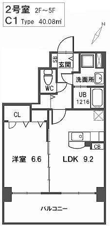 トラント・ドゥ博多 / 302号室間取り