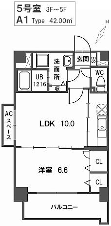トラント・ドゥ博多 / 505号室間取り