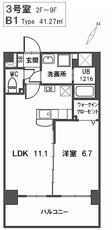 トラント・ドゥ博多 / 603号室間取り