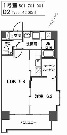 トラント・ドゥ博多 / 701号室間取り