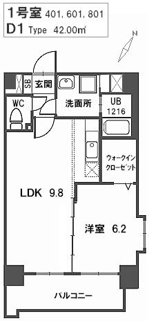 トラント・ドゥ博多 / 801号室間取り