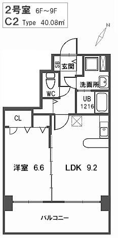トラント・ドゥ博多 / 902号室間取り