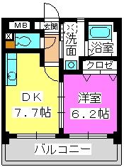 ジュネス小笹 / 602号室間取り