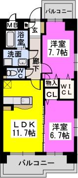 シャトレ六番館(ペット可) / 703号室間取り