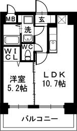 サザンコート博多駅前 / 502号室間取り