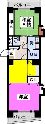 鳴海屋参番館 / 702号室間取り