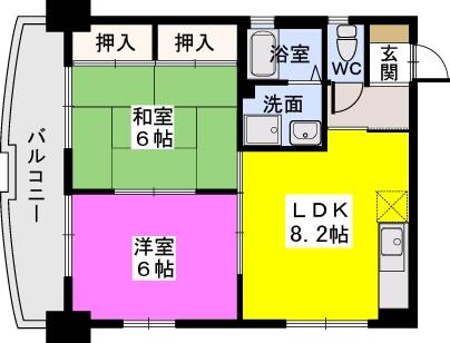 ドミール平尾 / 201号室間取り