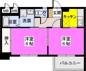 ドミール平尾 / 202号室間取り