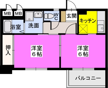 ドミール平尾 / 502号室間取り