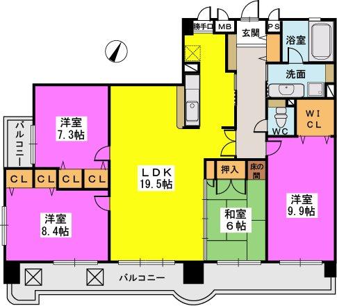 東峰マンションダーリングヒル友泉亭 / 201号室間取り