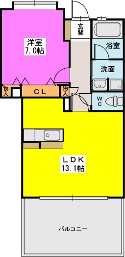 エイルマンション天神 / 407号室間取り