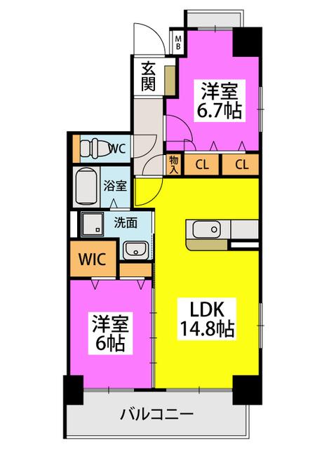 アウラ ビータ平尾(ペット可) / 702号室間取り