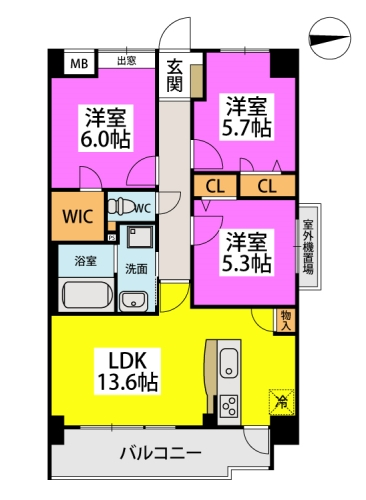 仮称)小笹5丁目マンション / 303号室間取り