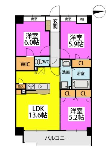 仮称)小笹5丁目マンション / 701号室間取り