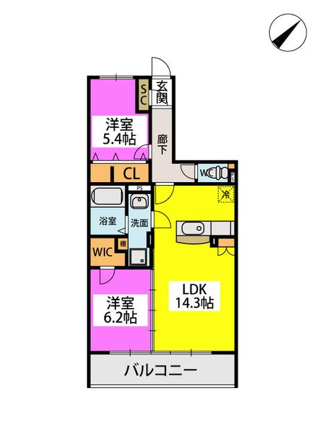 シャトレ平尾浄水町 / 202号室間取り
