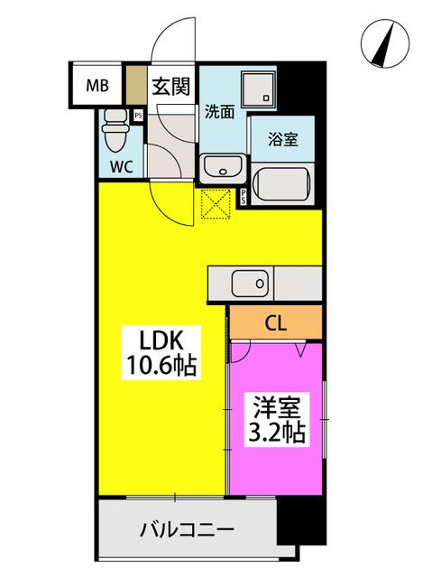 仮称)LIBERTY R TENJIN / W-203号室間取り
