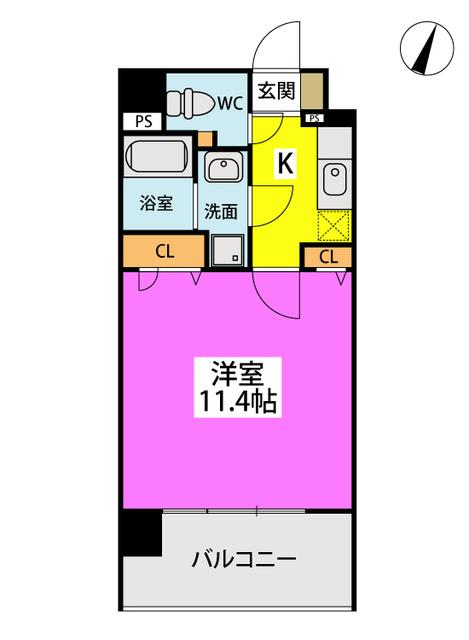 仮称)LIBERTY R TENJIN / W-702号室間取り