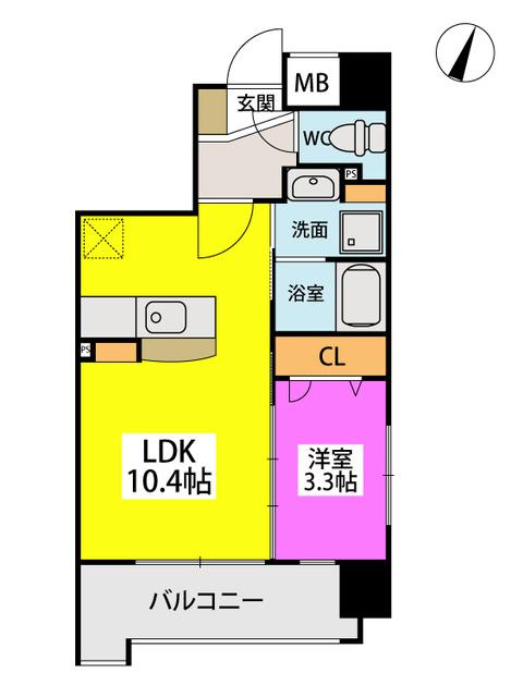 仮称)LIBERTY R TENJIN / E-703号室間取り